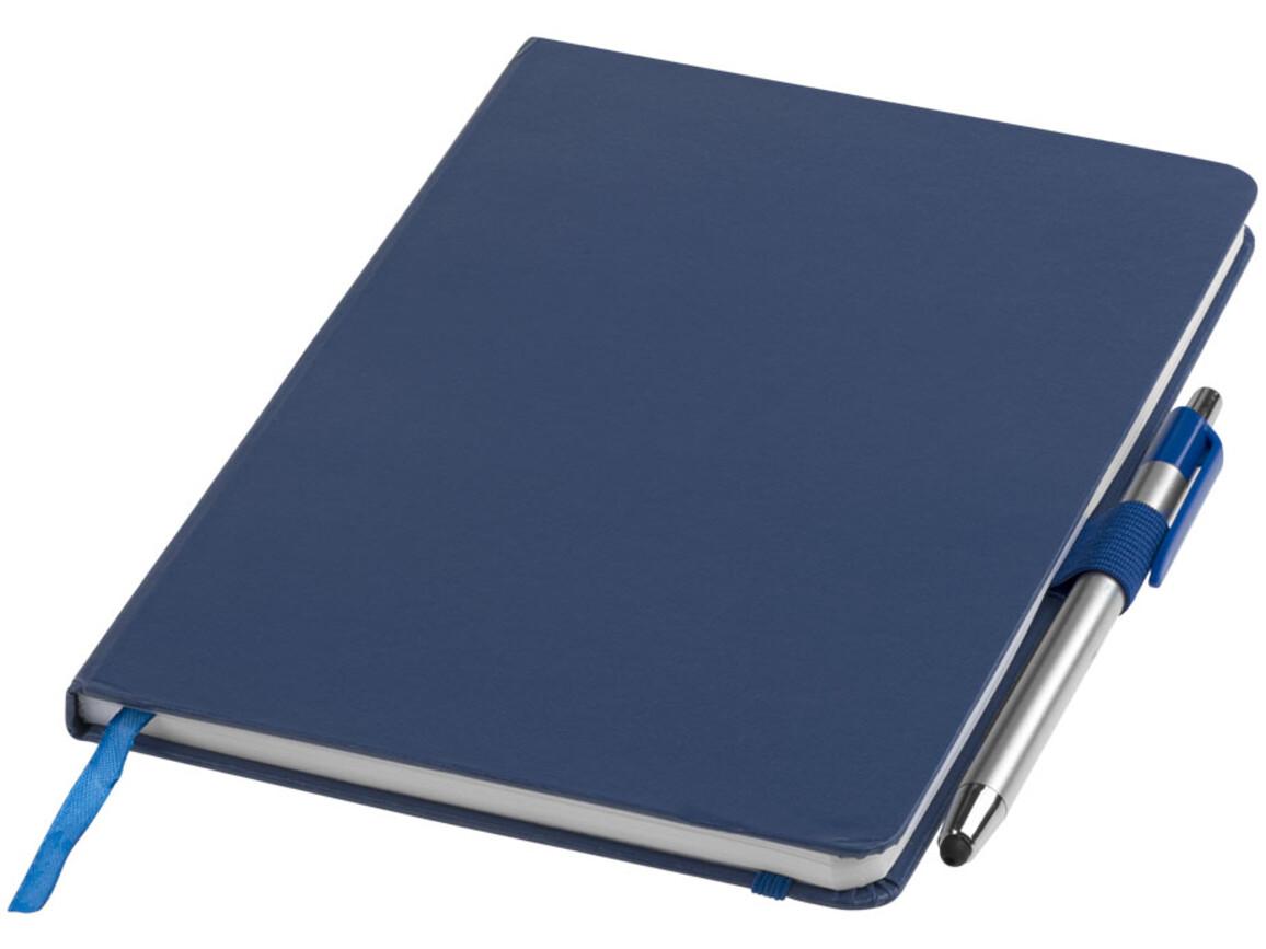 Crown A5 Notizbuch mit Stylus Kugelschreiber, blau bedrucken, Art.-Nr. 10685201