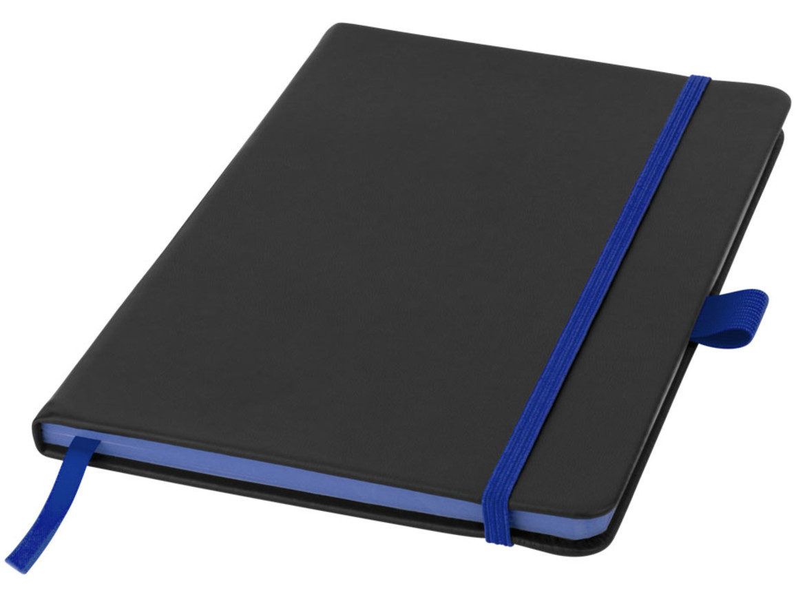 Colour-Edge A5 Hard Cover Notizbuch, schwarz, royalblau bedrucken, Art.-Nr. 10690702