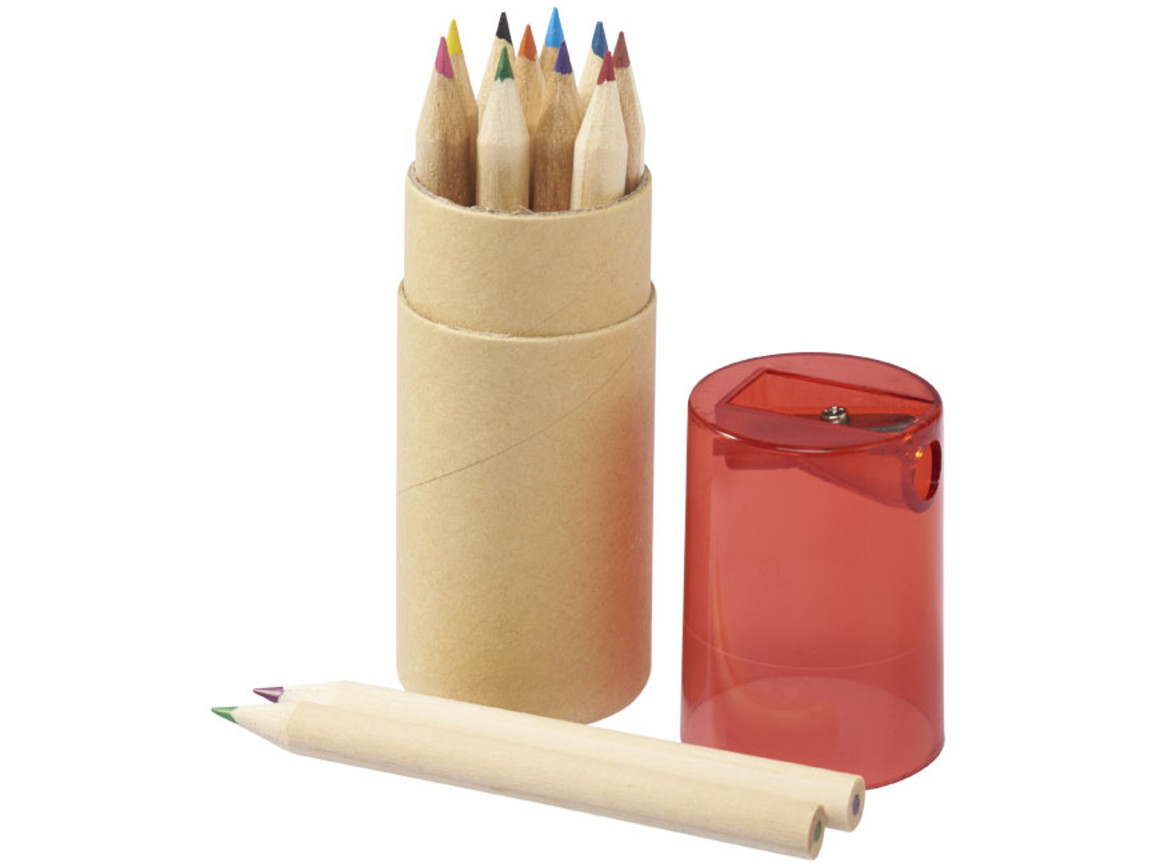 Hef 12-teiliges Buntstiftset mit Anspitzer, rot bedrucken, Art.-Nr. 10706801