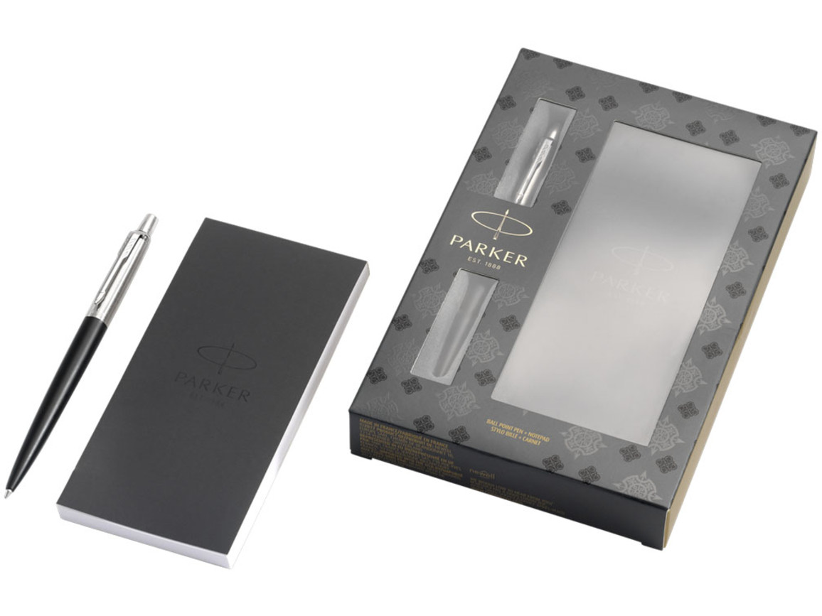 Jotter Bond Street Geschenkset mit Stift mit Notizblock, schwarz bedrucken, Art.-Nr. 10707300