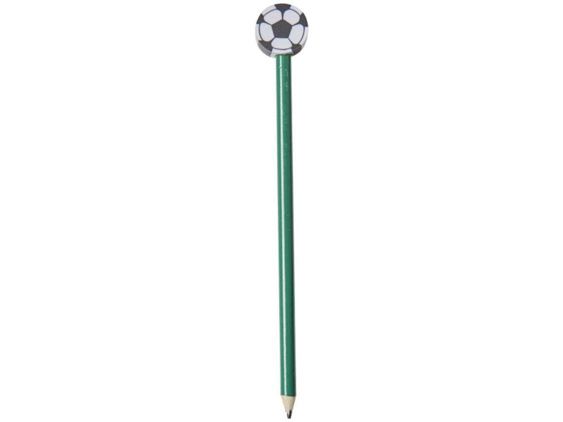 Goal Bleistift mit Radierer in Fußballform, grün bedrucken, Art.-Nr. 10710102