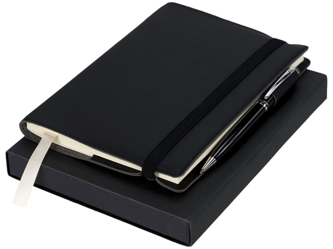 Aria Notizbuch mit Stift Geschenkset, schwarz bedrucken, Art.-Nr. 10712400