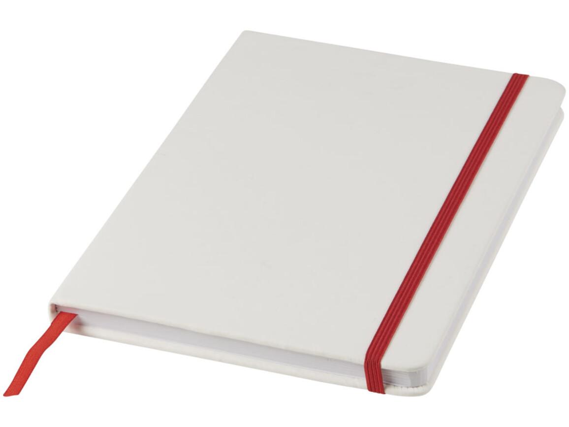 Spectrum weißes A5 Notizbuch mit farbigem Gummiband, weiss, rot bedrucken, Art.-Nr. 10713502