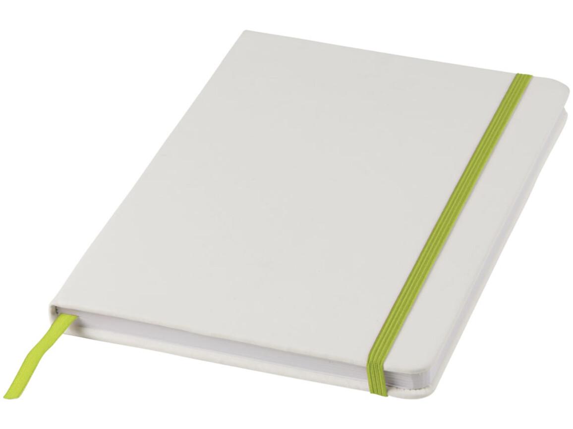 Spectrum weißes A5 Notizbuch mit farbigem Gummiband, weiss, limone bedrucken, Art.-Nr. 10713503