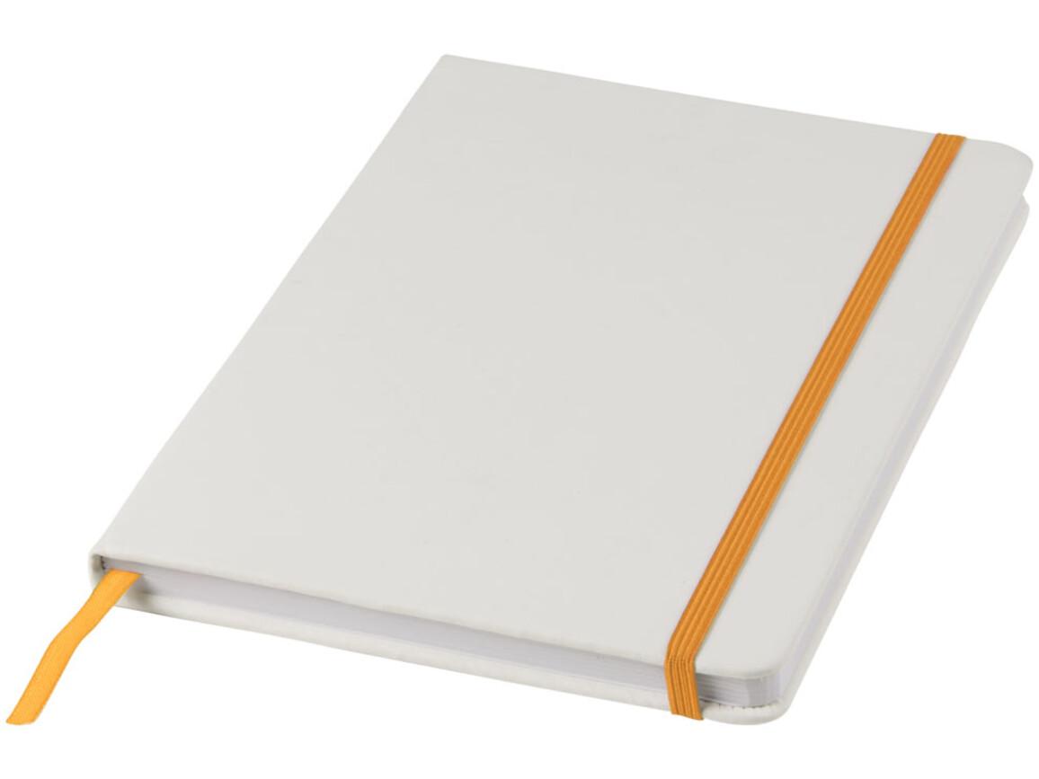 Spectrum weißes A5 Notizbuch mit farbigem Gummiband, weiss, orange bedrucken, Art.-Nr. 10713504