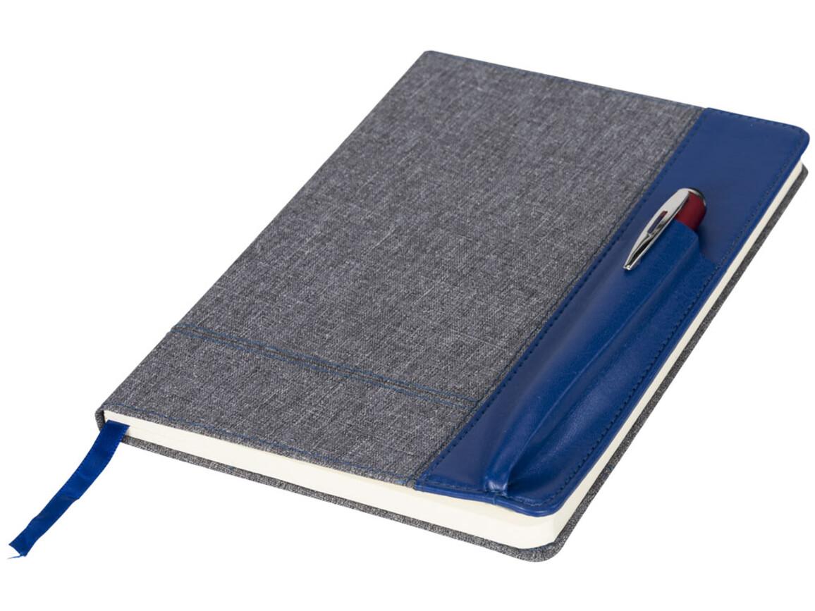 Heathered A5 Notizbuch mit Seite in Lederoptik, blau bedrucken, Art.-Nr. 10723001