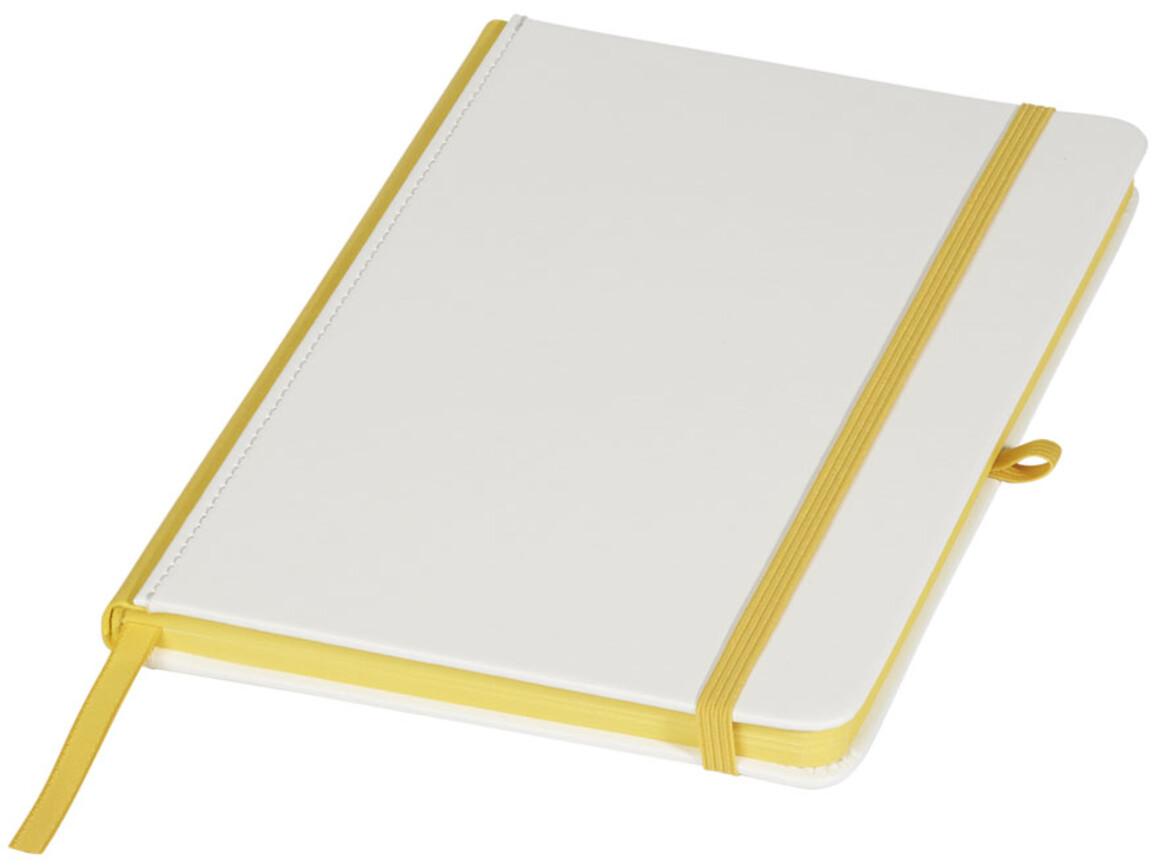 A5 Notizbuch für Digitaldruck, weiss, gelb bedrucken, Art.-Nr. 10725803