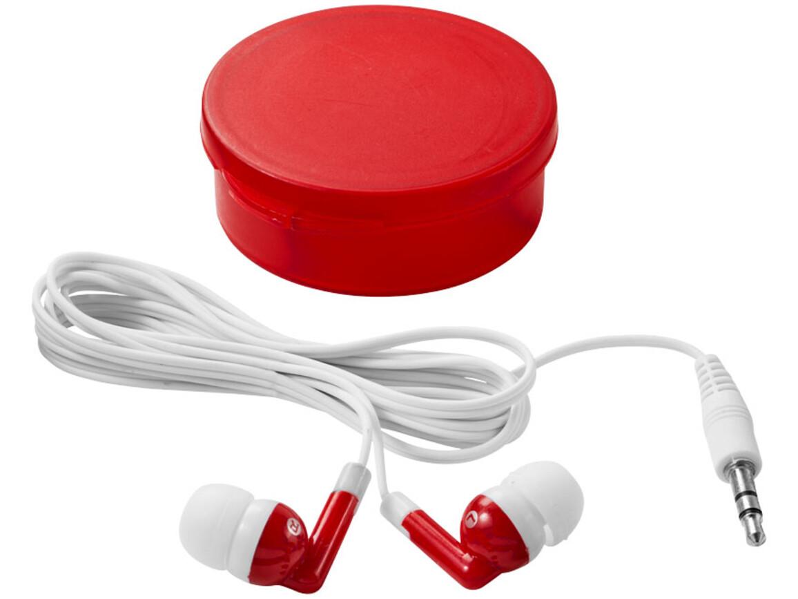 Versa Ohrhörer, transparent rot, weiss bedrucken, Art.-Nr. 10821902