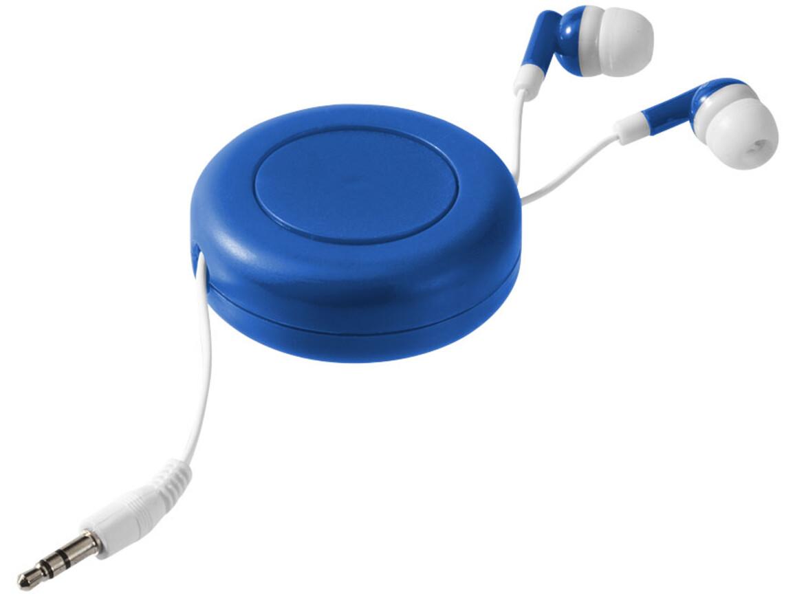 Reely Ohrhörer mit einziehbarem Kabel, royalblau, weiss bedrucken, Art.-Nr. 10823501