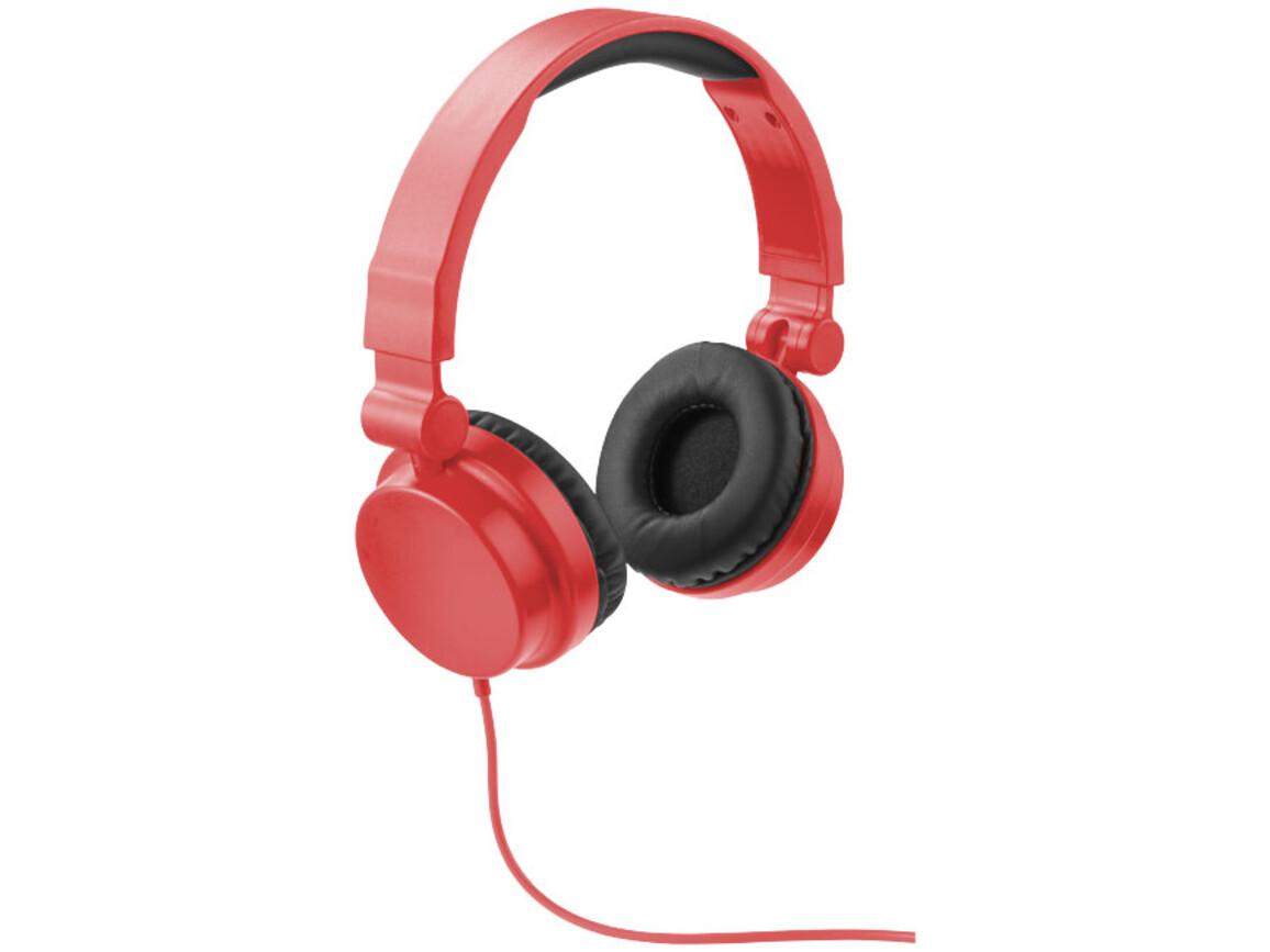 Rally zusammenklappbare Kopfhörer, rot bedrucken, Art.-Nr. 10825503