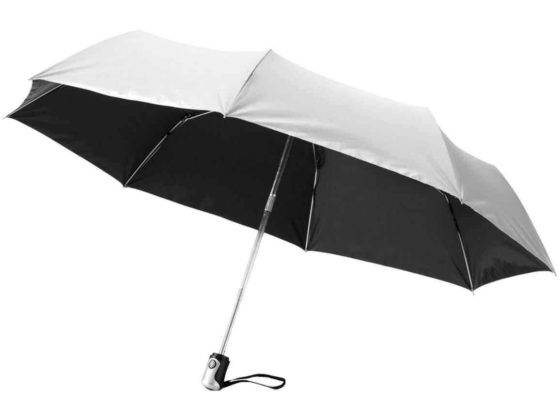 """Alex 21,5"""" Vollautomatik Kompaktregenschirm, schwarz, silber bedrucken, Art.-Nr. 10901601"""