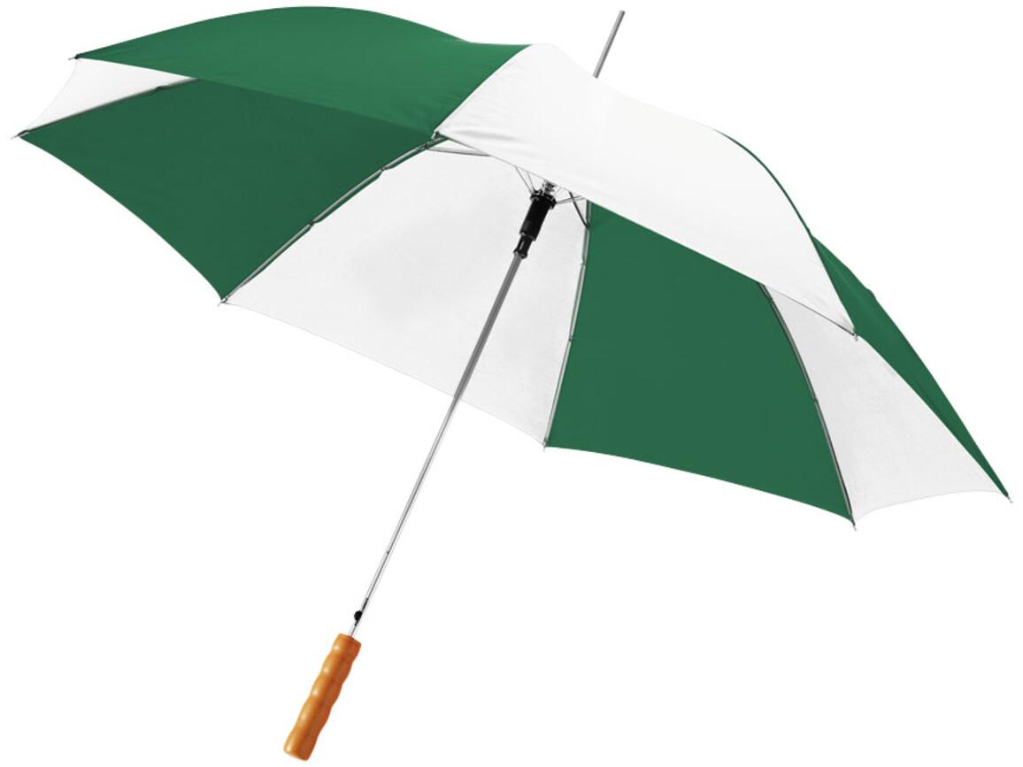 """Lisa 23"""" Automatikregenschirm mit Holzgriff, grün, weiss bedrucken, Art.-Nr. 10901713"""