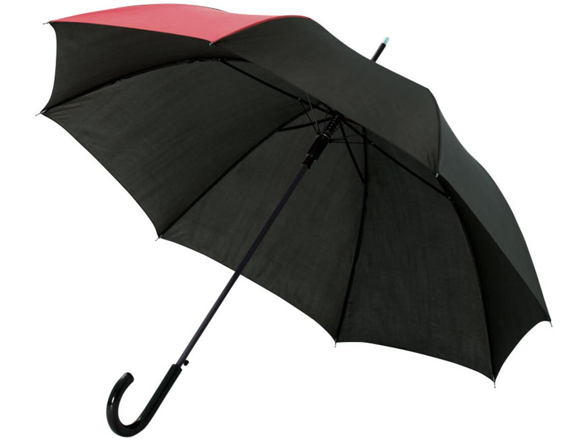 "Lucy 23"" Automatikregenschirm, rot,schwarz bedrucken, Art.-Nr. 10910002"