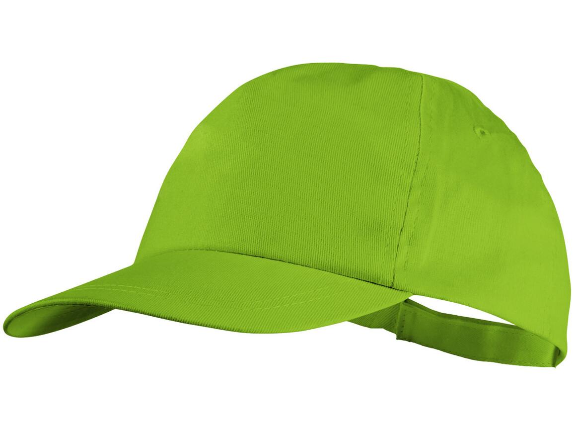 Basic Baumwoll Kappe mit 5 Segmenten, apfelgrün bedrucken, Art.-Nr. 11106607