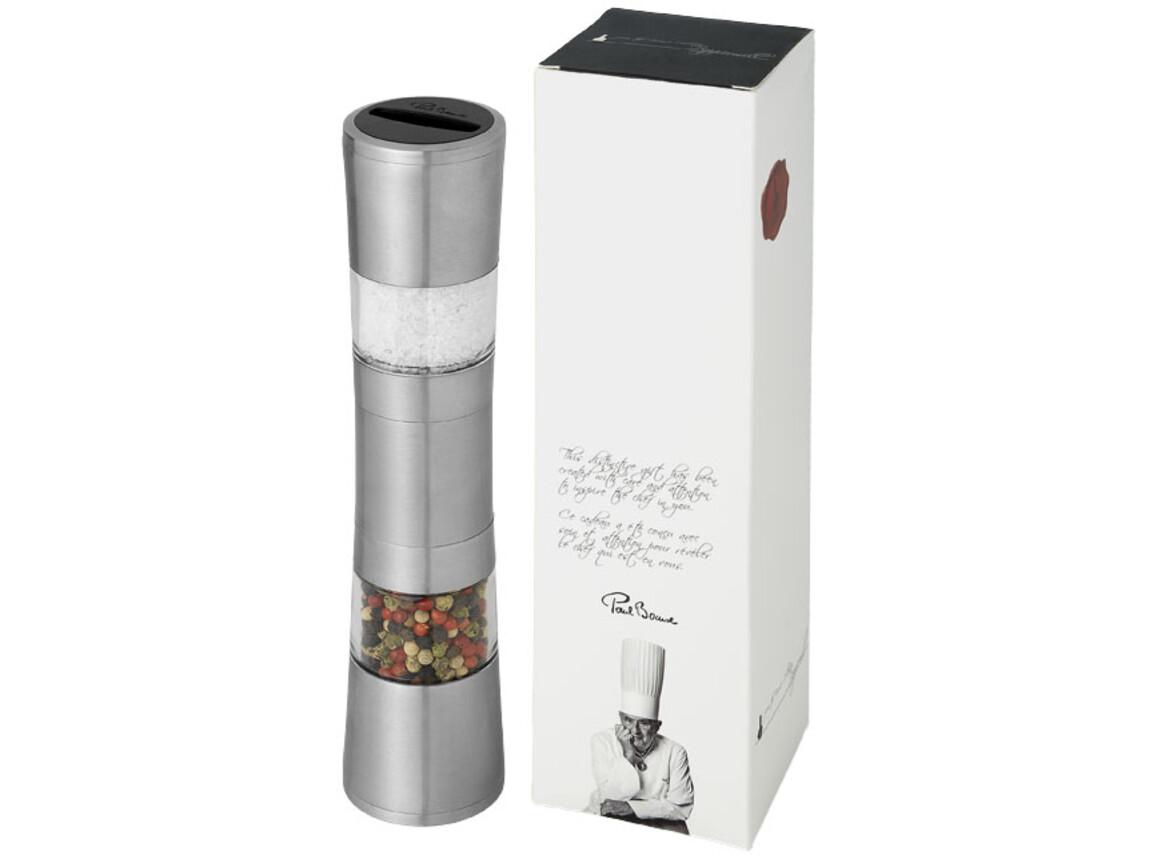 Dual Salz- & Pfeffermühle aus Edelstahl, silber bedrucken, Art.-Nr. 11211500