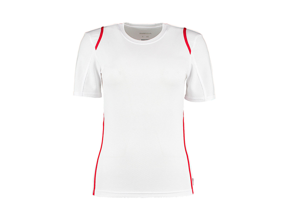 Kustom Kit Women`s Regular Fit Cooltex® Contrast Tee, White/Red, XS bedrucken, Art.-Nr. 002110571