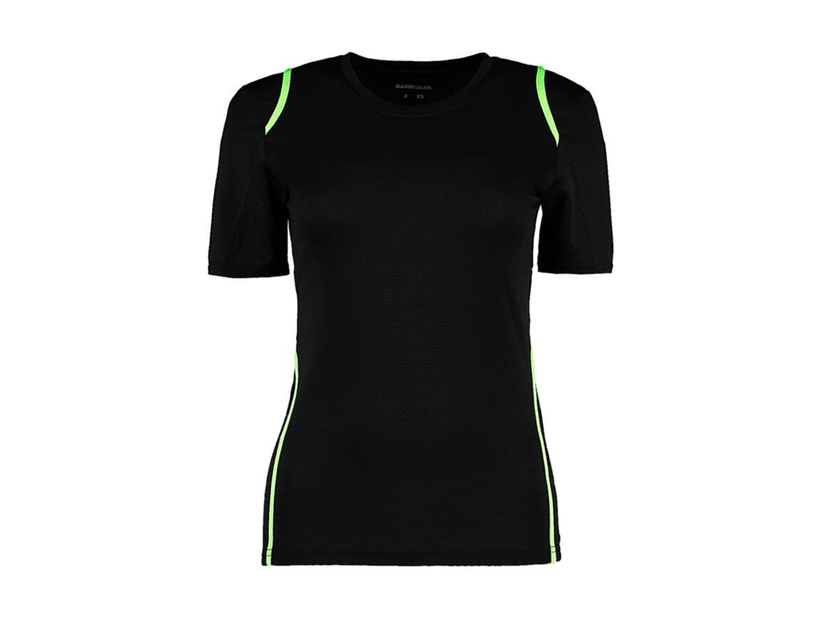 Kustom Kit Women`s Regular Fit Cooltex® Contrast Tee, Black/Fluorescent Lime, L bedrucken, Art.-Nr. 002111614