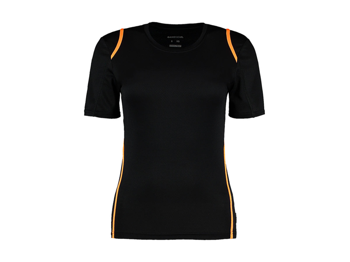 Kustom Kit Women`s Regular Fit Cooltex® Contrast Tee, Black/Fluorescent Orange, M bedrucken, Art.-Nr. 002111683