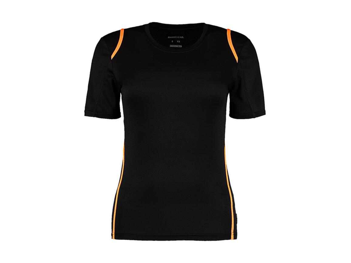 Kustom Kit Women`s Regular Fit Cooltex® Contrast Tee, Black/Fluorescent Orange, XL bedrucken, Art.-Nr. 002111685