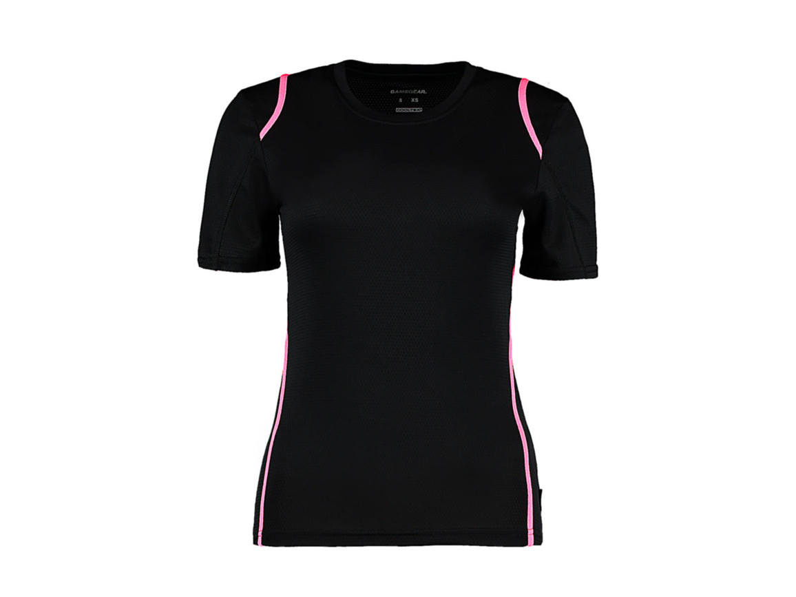 Kustom Kit Women`s Regular Fit Cooltex® Contrast Tee, Black/Fluorescent Pink, XS bedrucken, Art.-Nr. 002111781