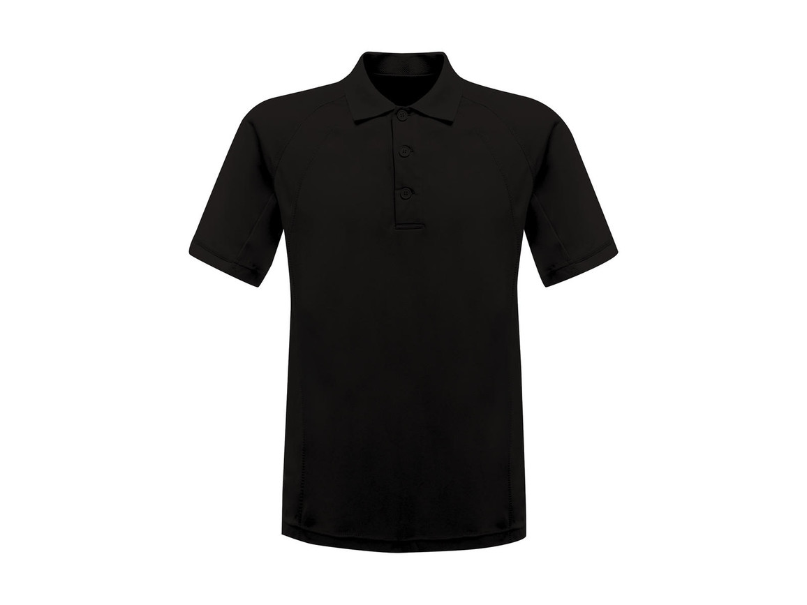 Regatta Coolweave Wicking Polo, Black, L bedrucken, Art.-Nr. 005171015