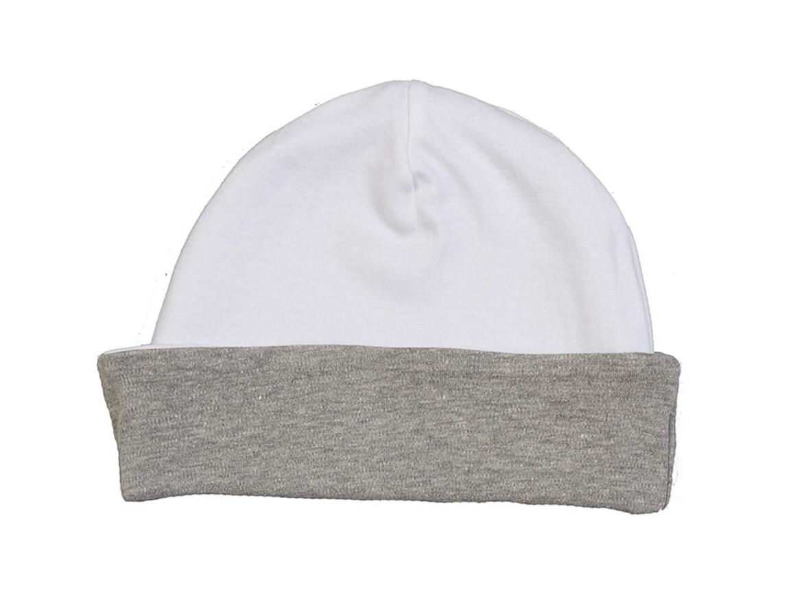 BabyBugz Baby Reversible Hat, White/Heather Grey, One Size bedrucken, Art.-Nr. 006470700