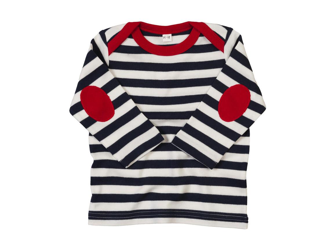 BabyBugz Baby Stripy Long Sleeve T, Navy/Washed White/Red, 6-12 bedrucken, Art.-Nr. 008472843