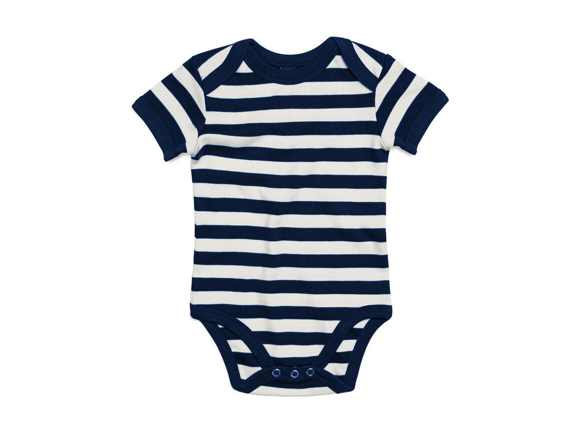 BabyBugz Baby Striped Short Sleeve Bodysuit, White/Navy, 3-6 bedrucken, Art.-Nr. 045470522