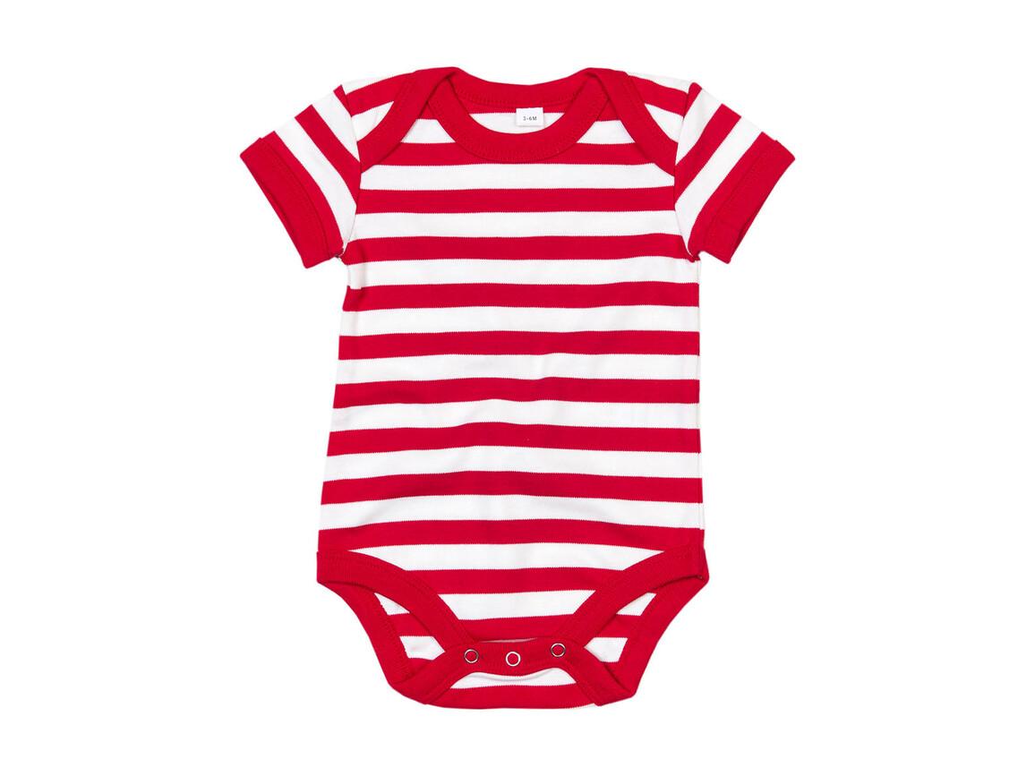 BabyBugz Baby Striped Short Sleeve Bodysuit, White/Red, 0-3 bedrucken, Art.-Nr. 045470541