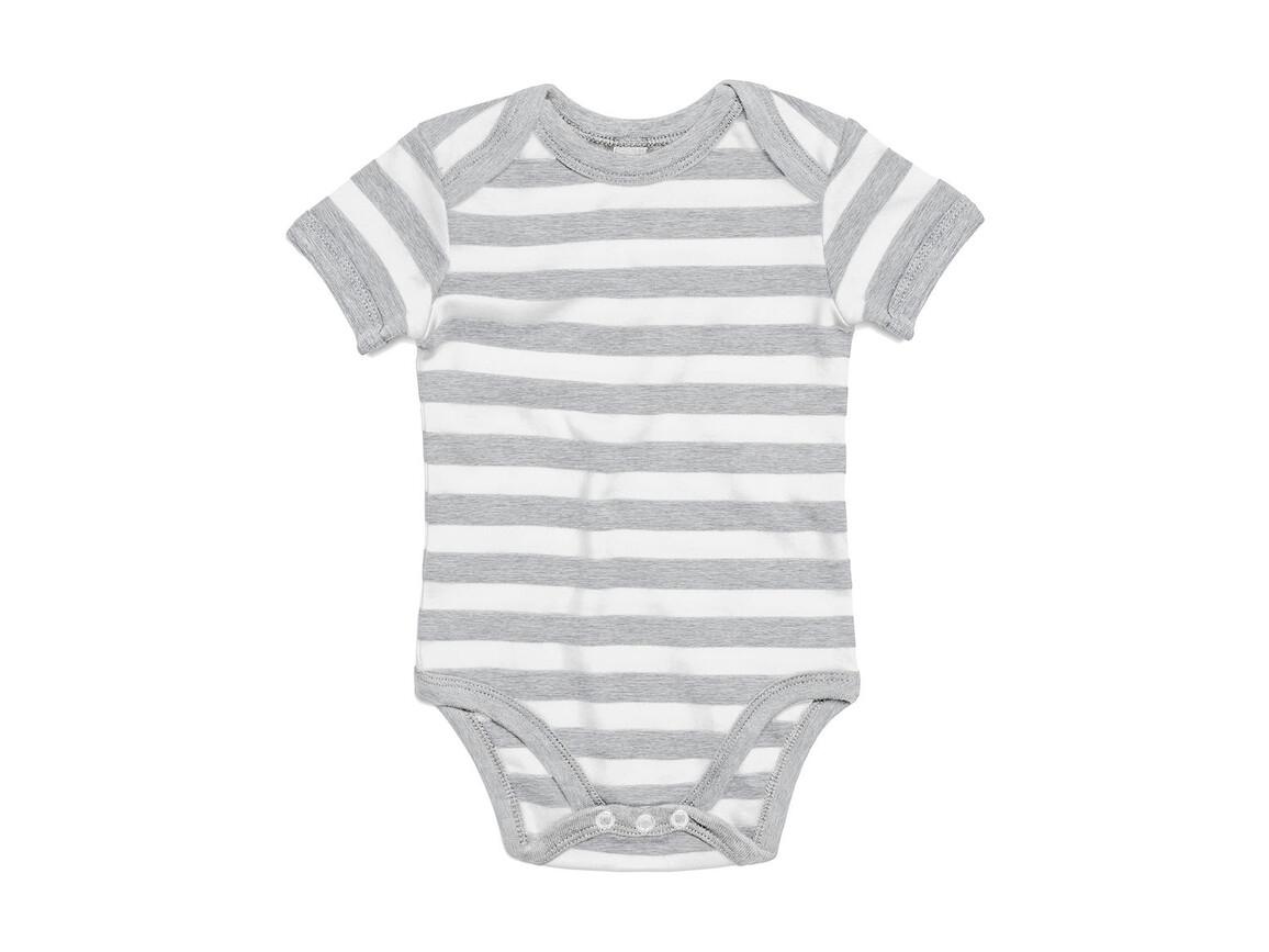 BabyBugz Baby Striped Short Sleeve Bodysuit, Light Grey Melange/White, 12-18 bedrucken, Art.-Nr. 045471604