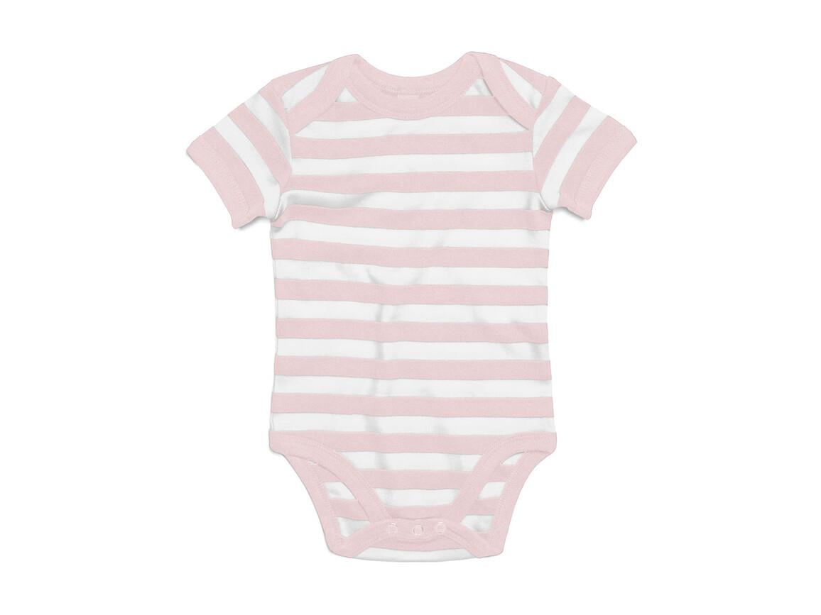 BabyBugz Baby Striped Short Sleeve Bodysuit, Powder Pink/White, 6-12 bedrucken, Art.-Nr. 045474673