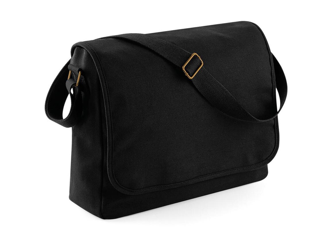 Bag Base Classic Canvas Messenger, Black, One Size bedrucken, Art.-Nr. 052291010