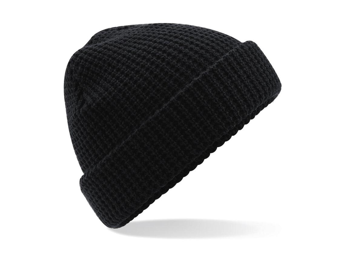 Beechfield Classic Waffle Knit Beanie, Black, One Size bedrucken, Art.-Nr. 054691010