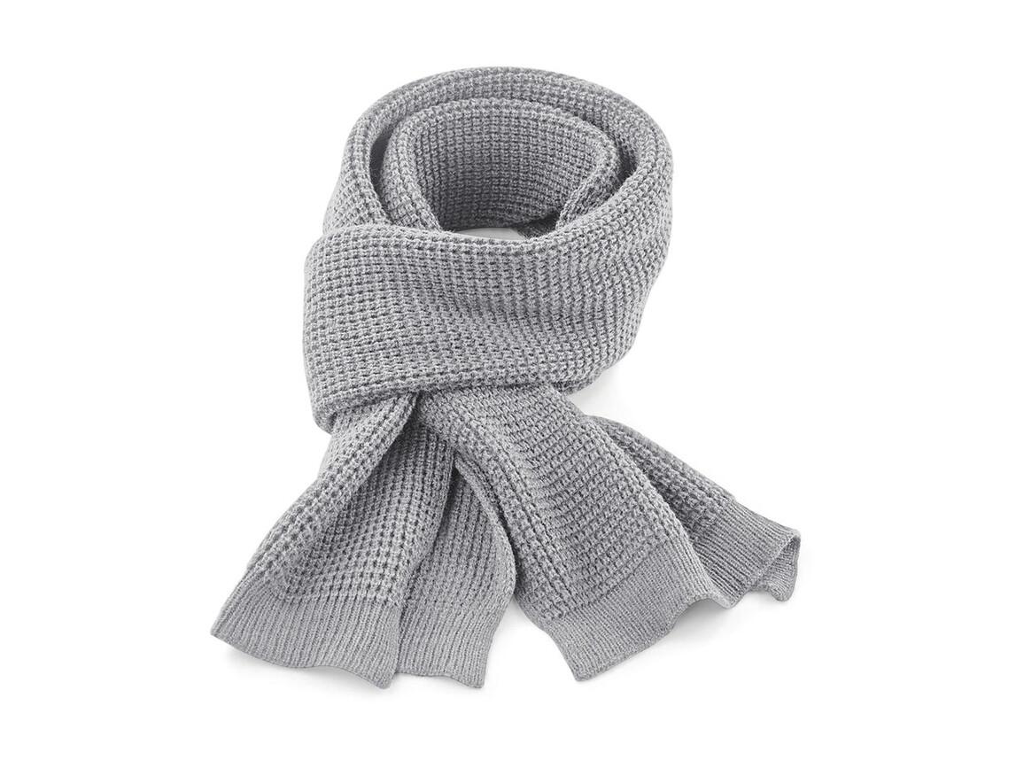 Beechfield Classic Waffle Knit Scarf, Light Grey, One Size bedrucken, Art.-Nr. 055691380