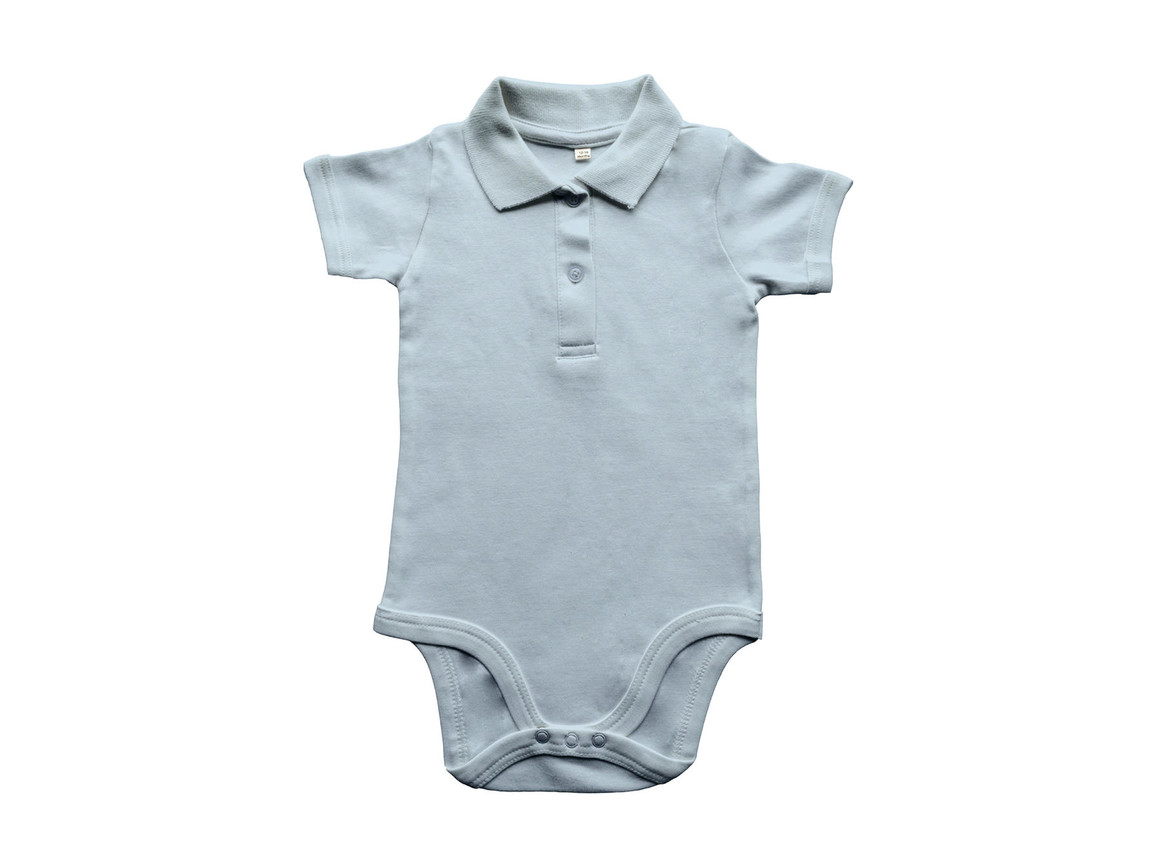 BabyBugz Baby Organic Polo Bodysuit, Dusty Blue, 12-18 bedrucken, Art.-Nr. 057473114