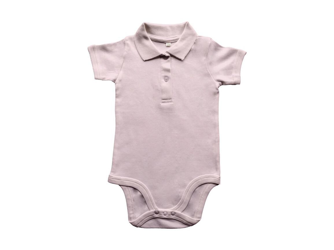 BabyBugz Baby Organic Polo Bodysuit, Powder Pink, 12-18 bedrucken, Art.-Nr. 057474174