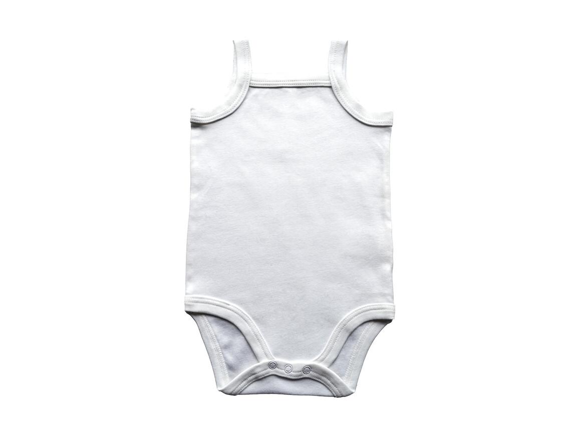 BabyBugz Baby Organic Strap Vest Bodysuit, White, 3-6 bedrucken, Art.-Nr. 058470002