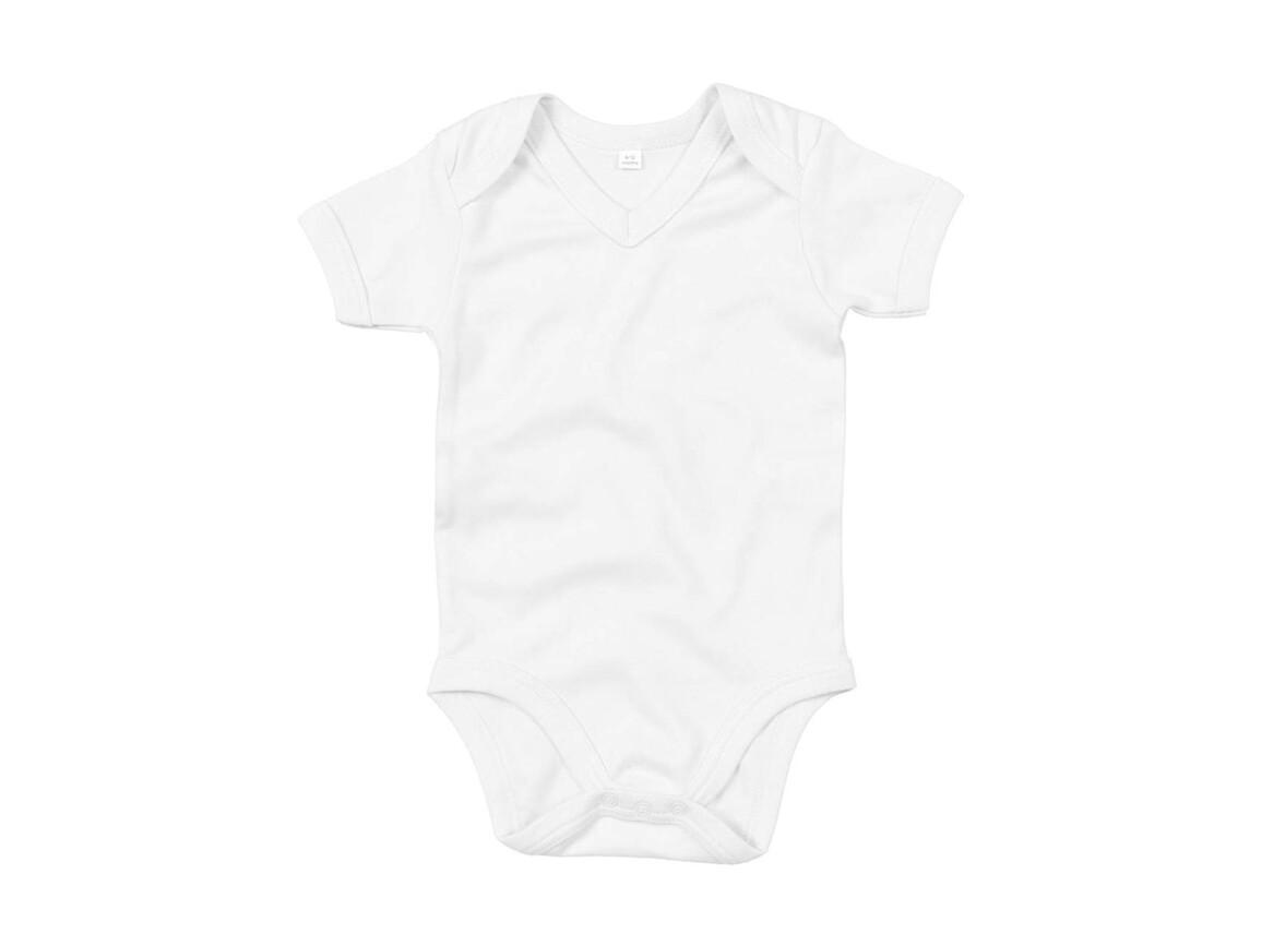 BabyBugz Baby Organic V-neck Bodysuit, White, 3-6 bedrucken, Art.-Nr. 059470002