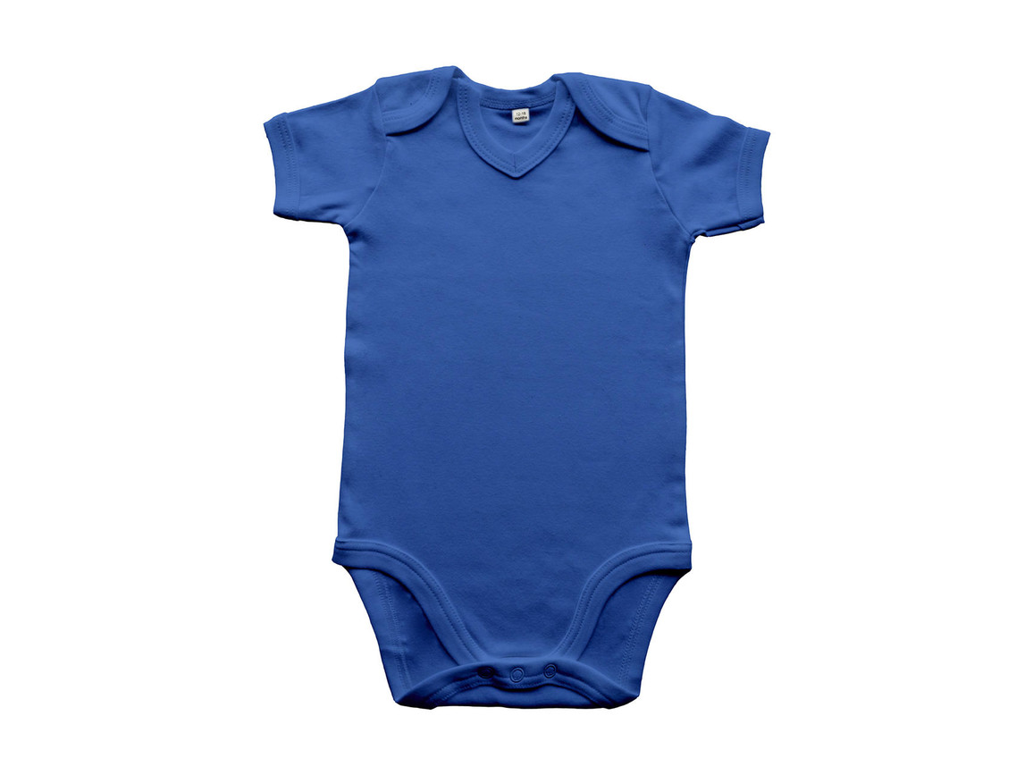 BabyBugz Baby Organic V-neck Bodysuit, Cobalt Blue, 12-18 bedrucken, Art.-Nr. 059473064