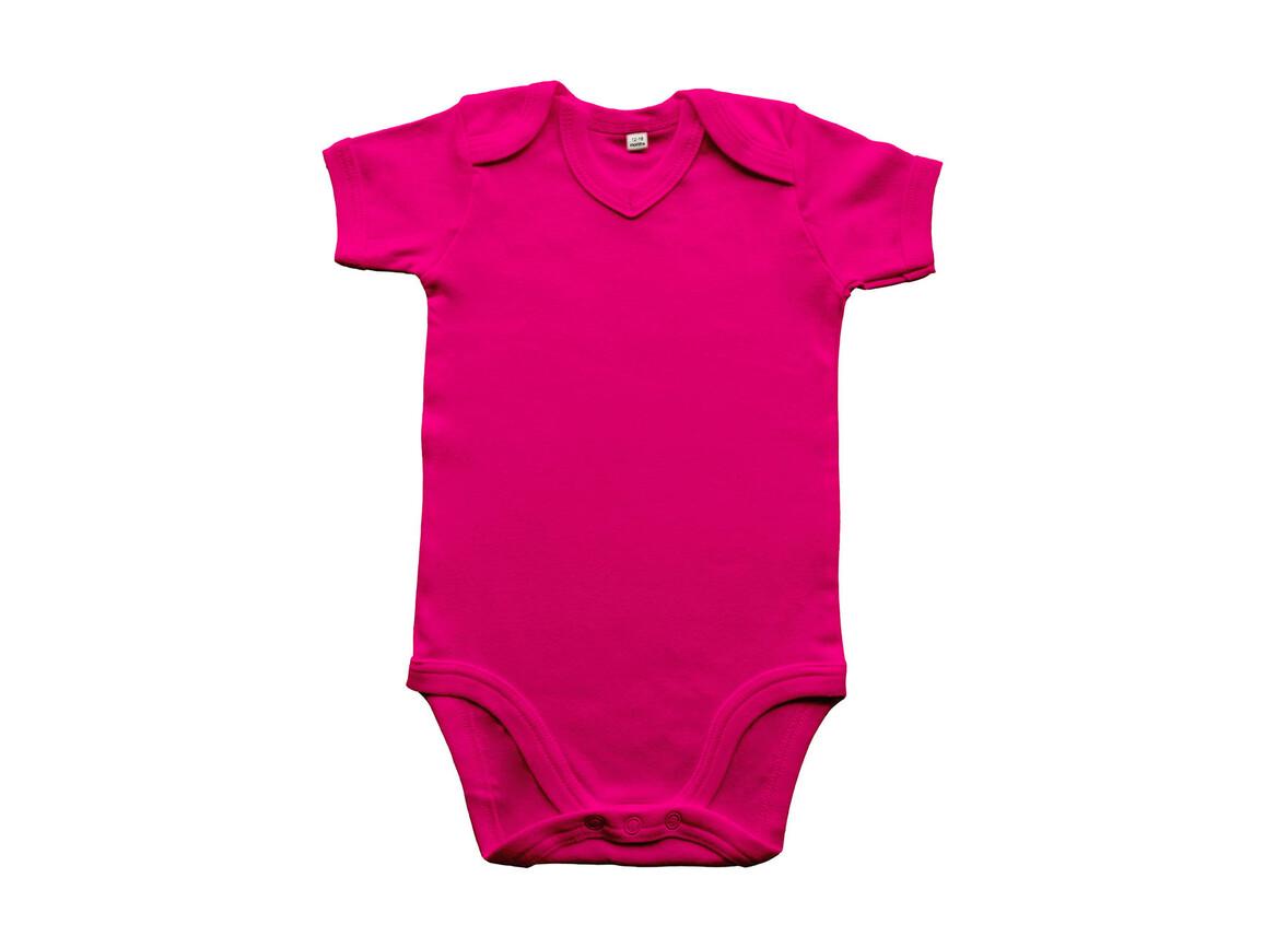 BabyBugz Baby Organic V-neck Bodysuit, Fuchsia, 12-18 bedrucken, Art.-Nr. 059474394
