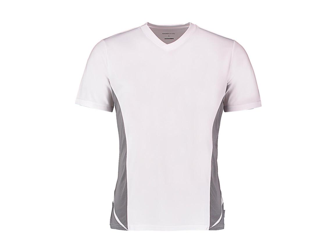 Kustom Kit Regular Fit Cooltex® Panel V Neck Tee, White/Grey, S bedrucken, Art.-Nr. 076110553