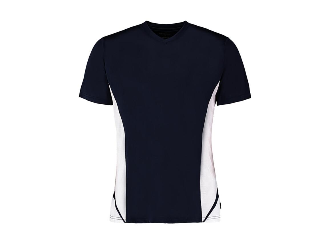 Kustom Kit Regular Fit Cooltex® Panel V Neck Tee, Navy/White, M bedrucken, Art.-Nr. 076112524