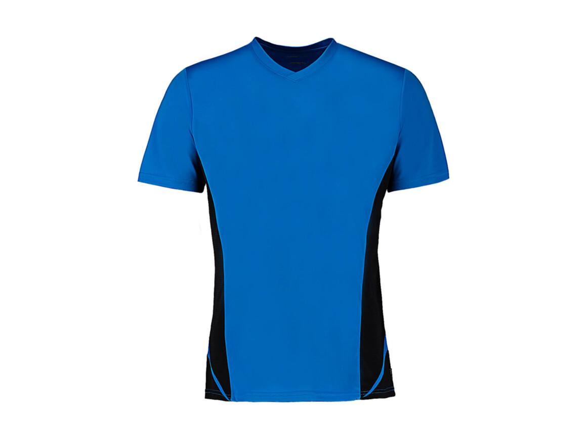 Kustom Kit Regular Fit Cooltex® Panel V Neck Tee, Electric Blue/Black, M bedrucken, Art.-Nr. 076113524