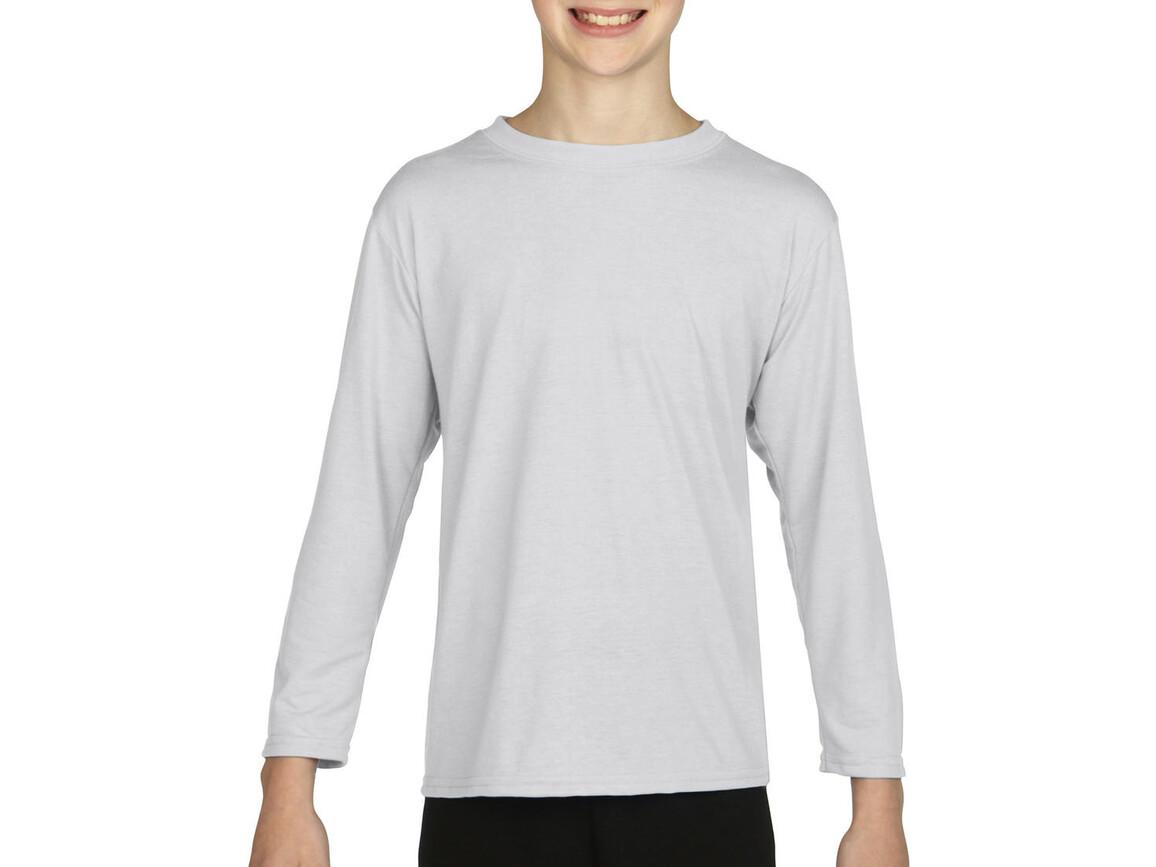 Gildan Gildan Performance® Youth LS T-Shirt, White, L (164) bedrucken, Art.-Nr. 078090005