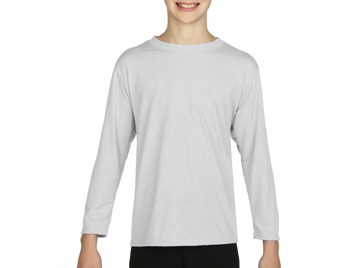 Gildan Gildan Performance® Youth LS T-Shirt, White, XS (104/110) bedrucken, Art.-Nr. 078090002