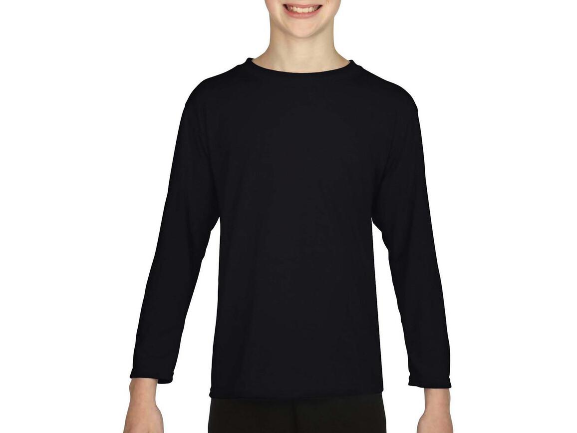 Gildan Gildan Performance® Youth LS T-Shirt, Black, L (164) bedrucken, Art.-Nr. 078091015