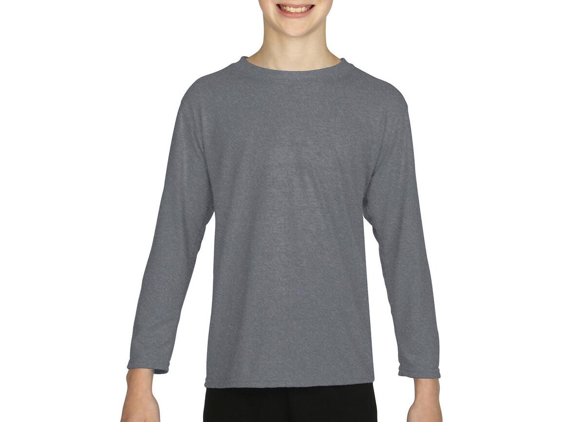 Gildan Gildan Performance® Youth LS T-Shirt, Sport Grey, S (116/128) bedrucken, Art.-Nr. 078091253