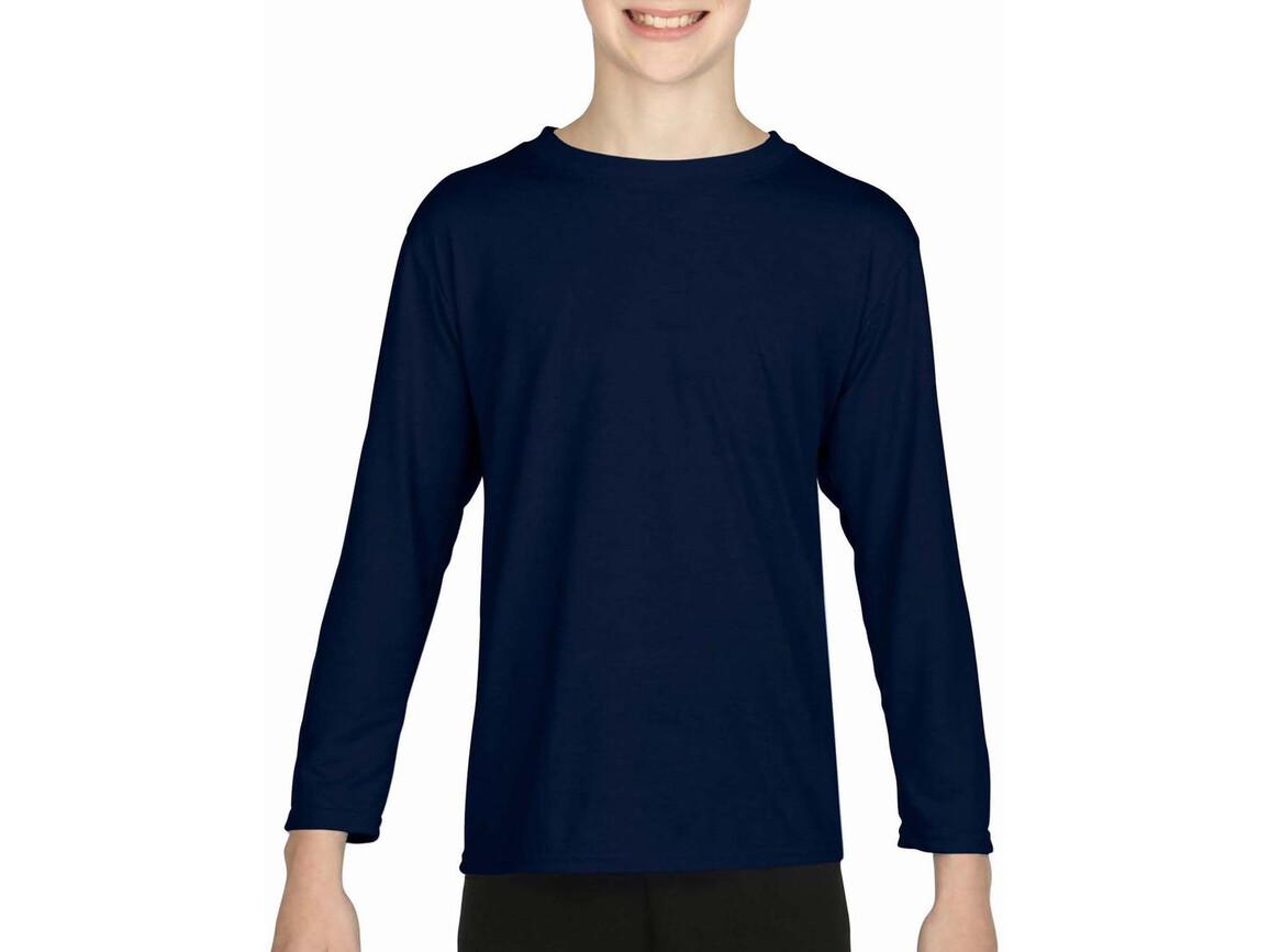 Gildan Gildan Performance® Youth LS T-Shirt, Navy, S (116/128) bedrucken, Art.-Nr. 078092003
