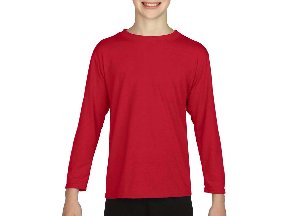 Gildan Gildan Performance® Youth LS T-Shirt, Red, XL (176) bedrucken, Art.-Nr. 078094006