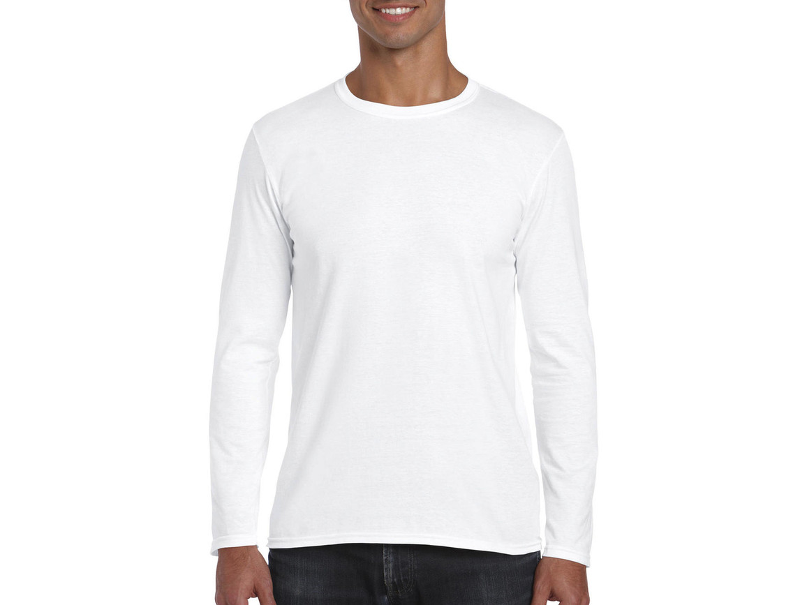 Gildan Softstyle® Long Sleeve Tee, White, L bedrucken, Art.-Nr. 107090005